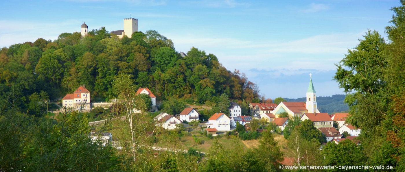 Ausflugsziel Falkenstein in der Oberpfalz Burg mit Felsenpark in Bayern